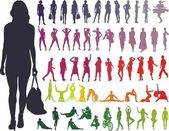 Vector Silhouettes Women — Stock Vector