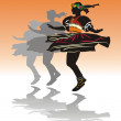 Traditional dance girl — Imagen vectorial