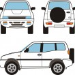 Car - small offroad, vector shapes - Stock Vector