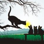 Cat school jumping — Stock Vector