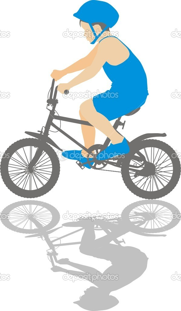 Vector illustration small boy on a bicycle — Stock Vector #4801506