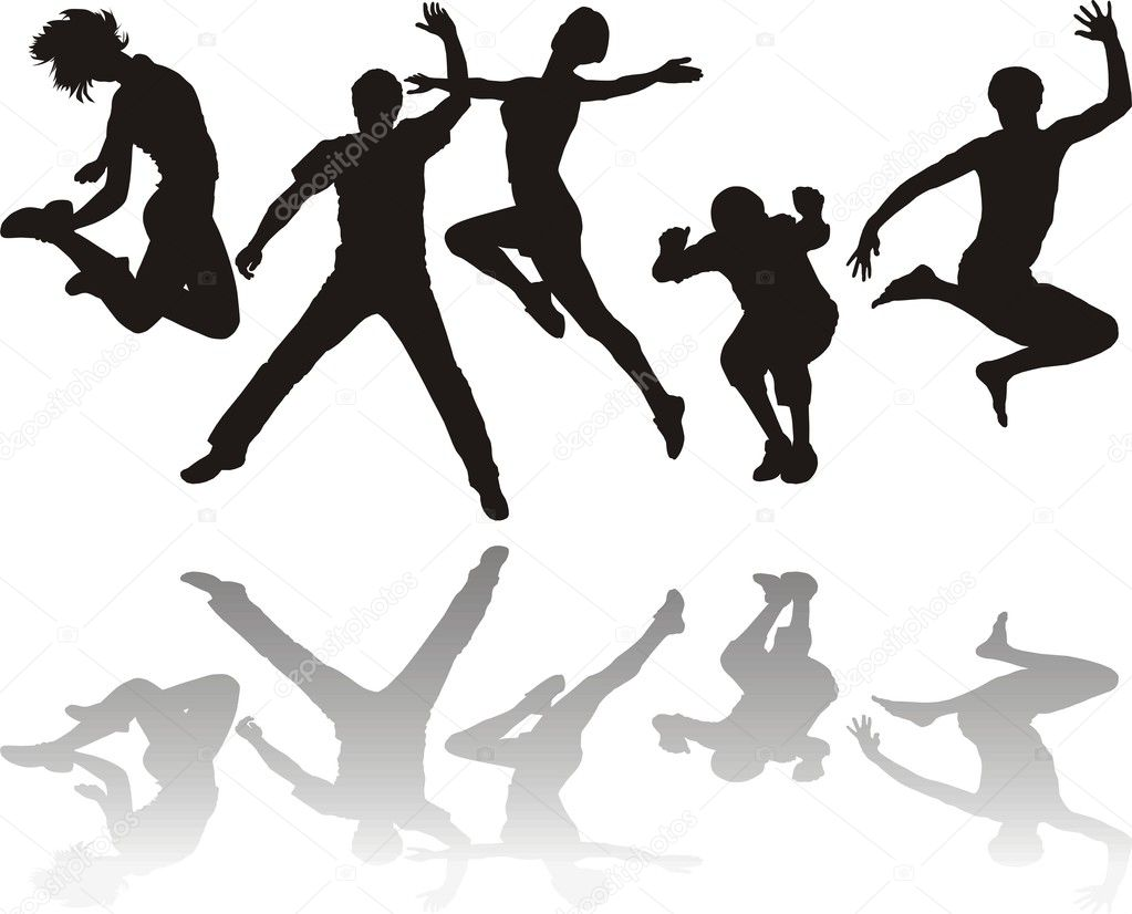 Silhouettes of young jumping  Stock Vector #4801508