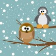 An owl and a penguin on a tree under snowfall — Stockvectorbeeld
