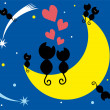 Two cats in love sitting on the moon — Stock Vector