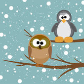 An owl and a penguin on a tree under snowfall — Stock Vector