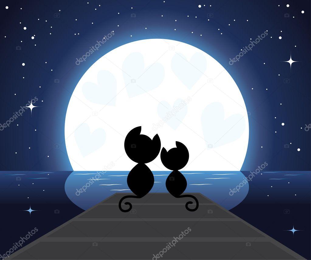 Dos gatos enamorados sentados en el puente \u2014 Vector de stock 4632928