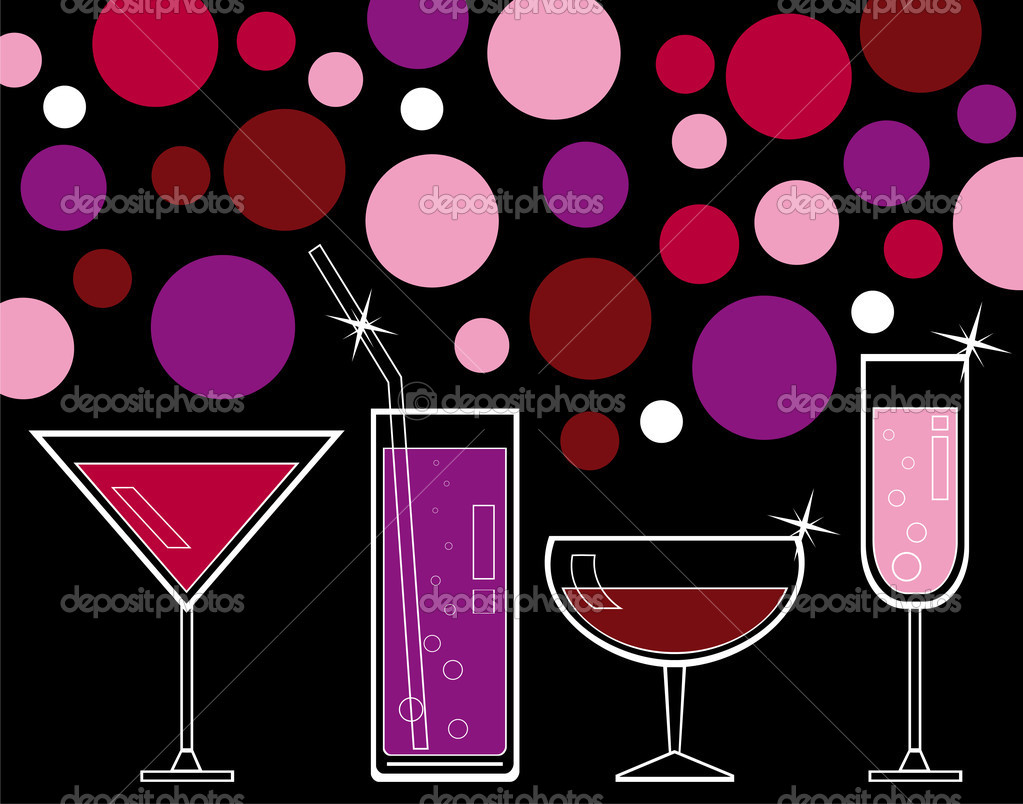 Alcoholic drinks and juice stock illustration
