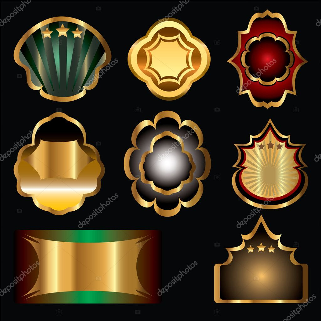 Vector set of vintage gold-framed labels — Stock Vector #4633390