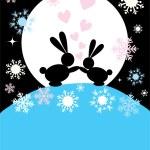 Two rabbits in love — Stock Vector #4679350