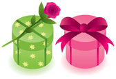 Round gift boxes — Stock Vector
