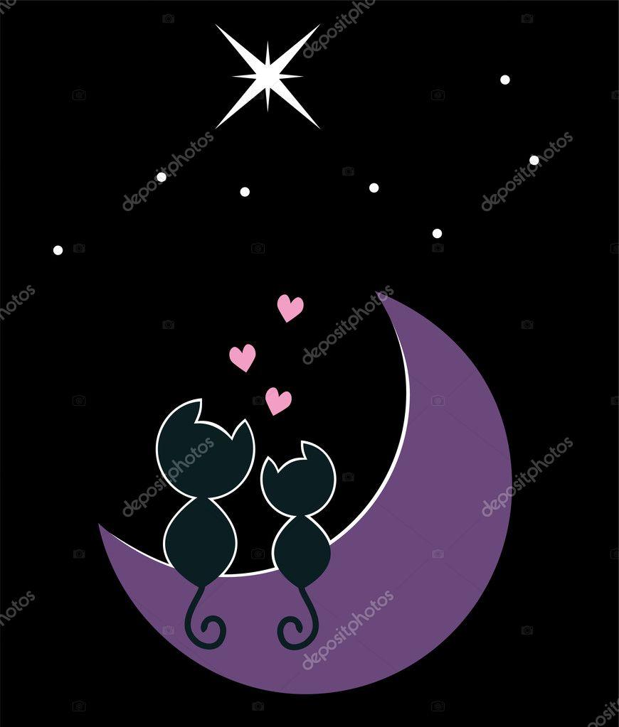 Dos gatos enamorados sentados en la luna\u2014 Vector de DahliaMM