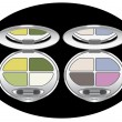Multicolored eye shadows — Stock Vector