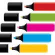 Colorful highlighters with caps — Vector de stock #4871514
