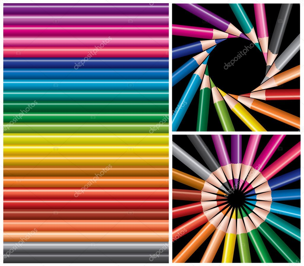 Vector set of colored pencils, collage  Stock Vector #4871488