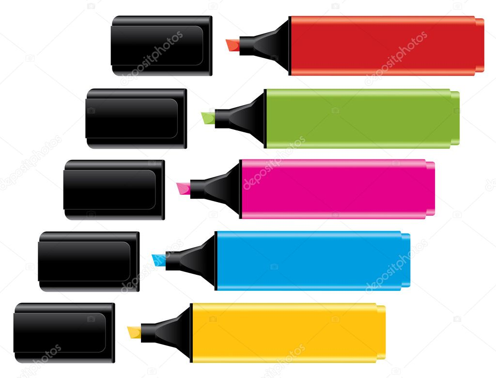 Vector colorful highlighters with caps   Stock Vector #4871514