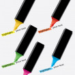 Colorful highlighters and highlighted text — Image vectorielle
