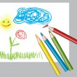 Child's drawing and colored pencils — Vector de stock