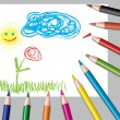 Child's drawing and colored pencils — Stock Vector #4899846