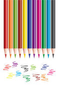 Colored pencils and scribbles — Stock Vector