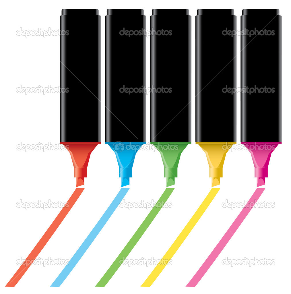 Vector colorful highlighters — Imagen vectorial #4899831