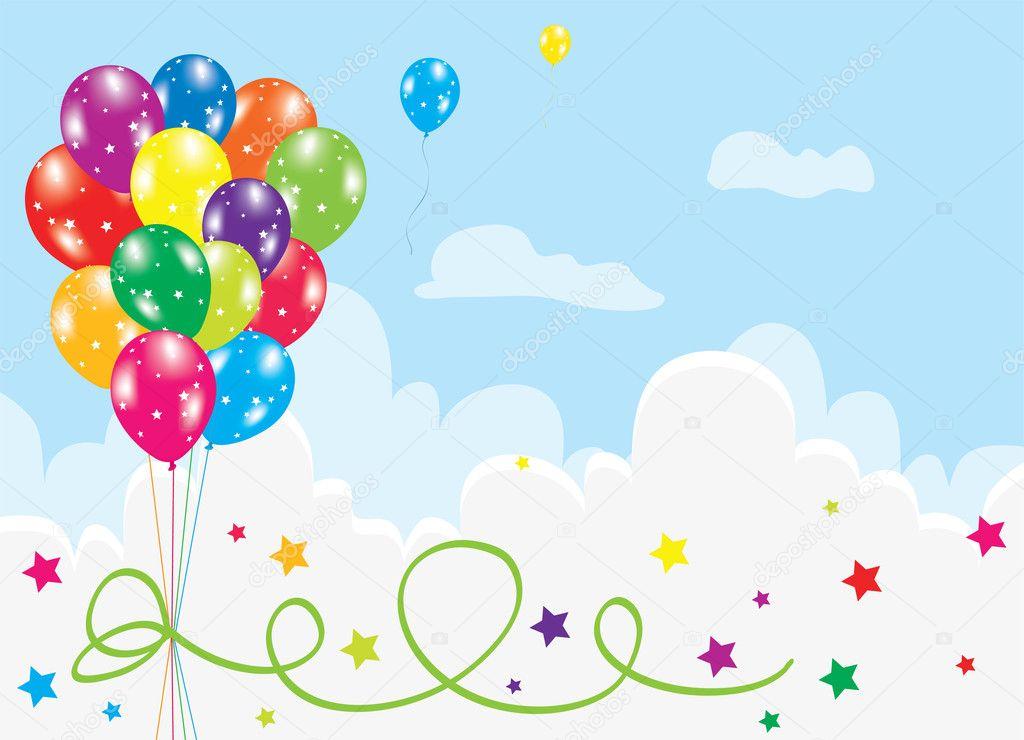 在天空中的彩色气球