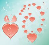 Blue romantic background with hearts — Stock Vector