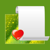 Congratulatory green background with a heart — Stock Vector