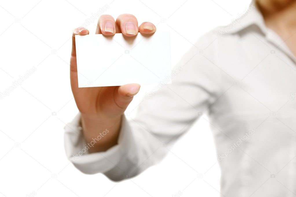 Young woman holding a blank card on white  — Stock Photo #5263473