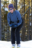 Cross Country Skier in the trees — Stock Photo