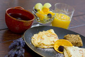 Fresh Continental breakfast with crepes — Stock Photo