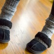 Winter slippers and socks - Stock Photo