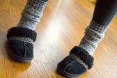 Winter slippers and socks — Stock Photo