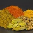 Indian spices isolated on black - Stock Photo