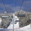 Ski lift in spring - Stock Photo