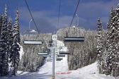 Ski lift in spring — Stock Photo
