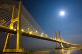 Vasco da Gama bridge under moonlight — Stock Photo