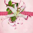 Stock Photo: Pink card with lace and lily