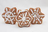 Gingerbread snowflakes — Stock Photo