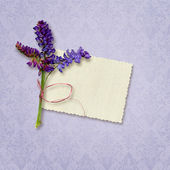 Card for invitation or congratulation with bouquet — Stock Photo