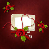 Beautiful valentine's card with heart string — Stock Photo