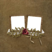 Vintage card with frames for two photos — Stock Photo