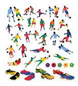 Voetbal spelers silhouetten — Stockvector