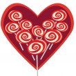 Sweet heart shape lollipop — Stock Vector