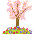 Stock Vector: Flowering tree