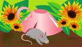 Arka plan fare ve kupası — Stok Vektör