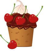 Cherry Muffin — Stock Vector
