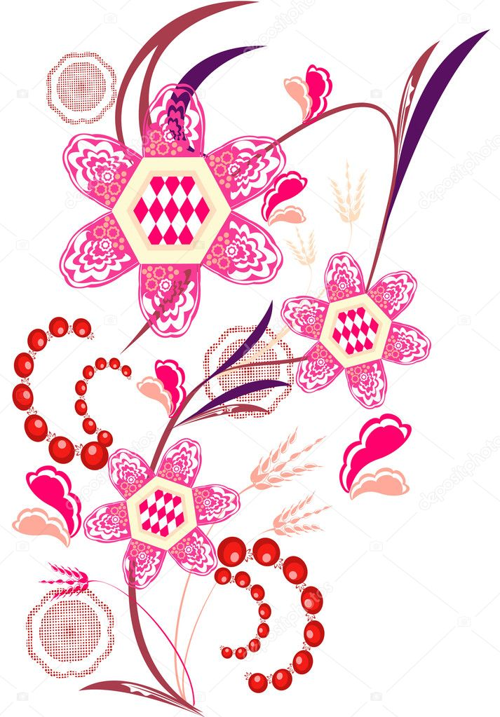 Abstract background with flowers on pink with space for text — Stock Vector #4793312