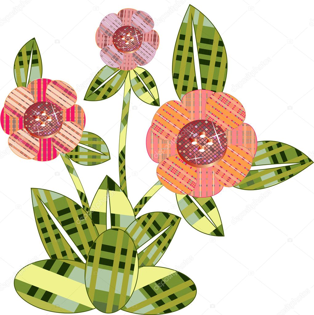 Colorful cute spring flowers — Stock Vector #4793380