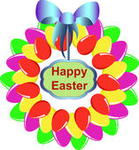 A colorful Easter egg wreath isolated over white — Vetorial Stock