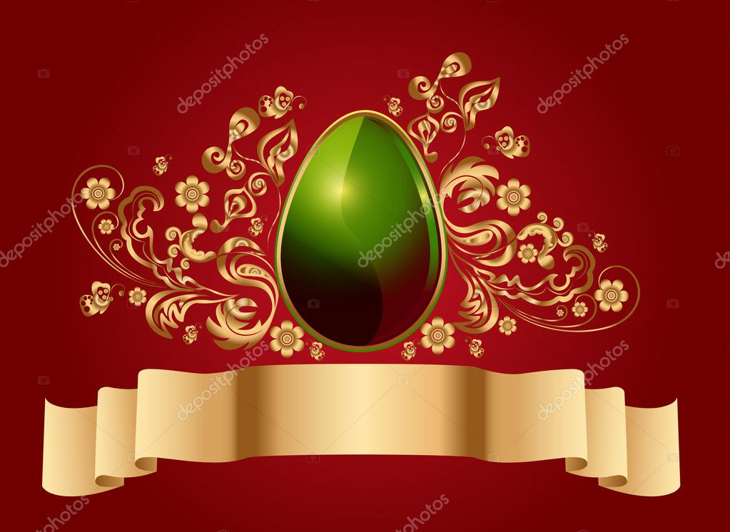 Easter red background - an egg with a golden floral elements — Stock Vector #5253355
